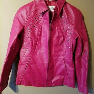 Pamela McCoy Pink Leather Jacket